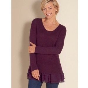 Soft Surroundings | Size L Eggplant Ruffle Sweater